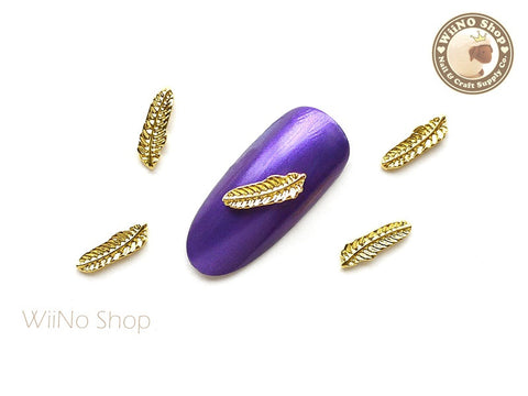 Gold Feather Nail Metal Charm Nail Art - 2 pcs (FT02G)