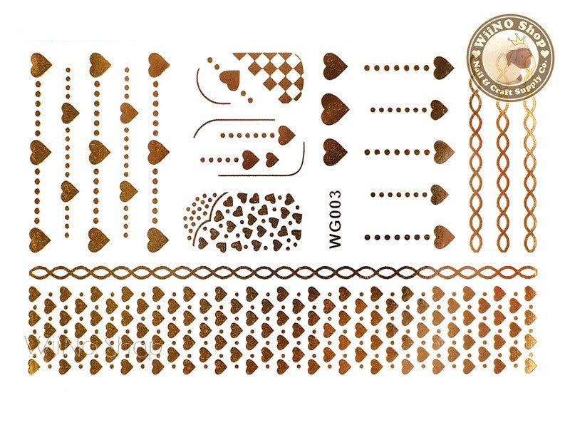 WG003 Gold Metallic Nail Jewelry Tattoos - 1 pc