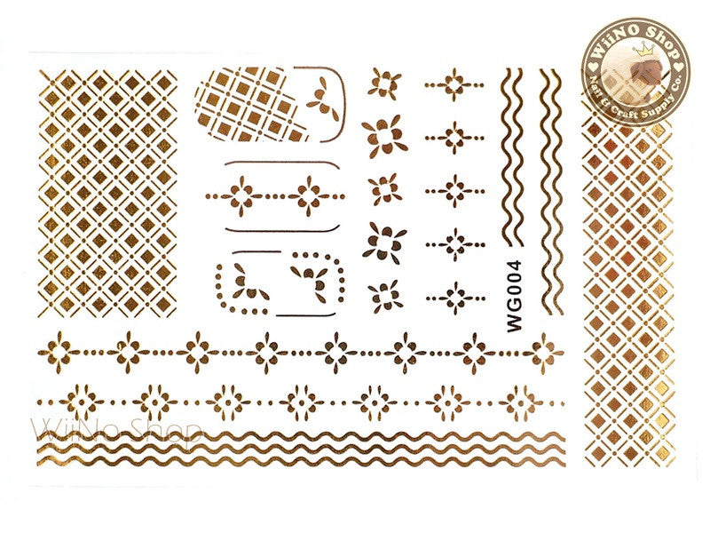 WG004 Gold Metallic Nail Jewelry Tattoos - 1 pc