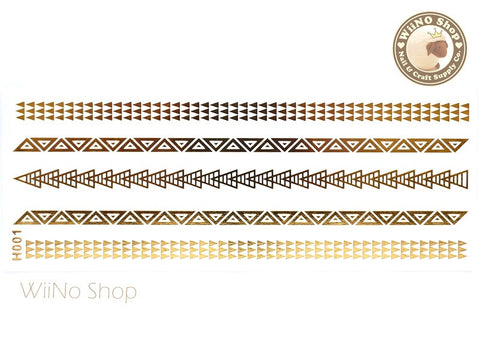 H001 Gold Metallic Temporary Jewelry Tattoos - 1 pc