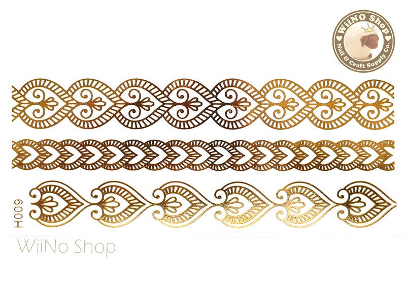 H009 Gold Metallic Temporary Jewelry Tattoos - 1 pc