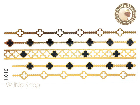 H012 Gold Black Metallic Temporary Jewelry Tattoos - 1 pc