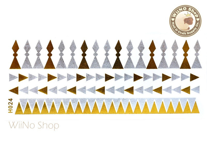 H024 Gold Silver Metallic Temporary Jewelry Tattoos - 1 pc