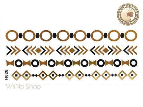 H028 Gold Black Metallic Temporary Jewelry Tattoos - 1 pc