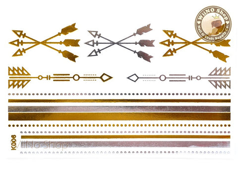 K006 Gold Silver Metallic Temporary Jewelry Tattoos - 1 pc