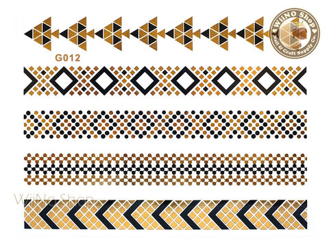 G012 Gold Black Metallic Temporary Jewelry Tattoos - 1 pc