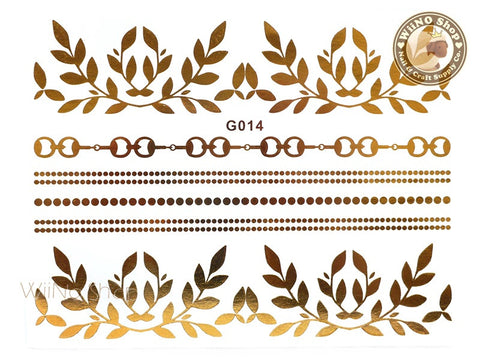 G014 Gold Metallic Temporary Jewelry Tattoos - 1 pc