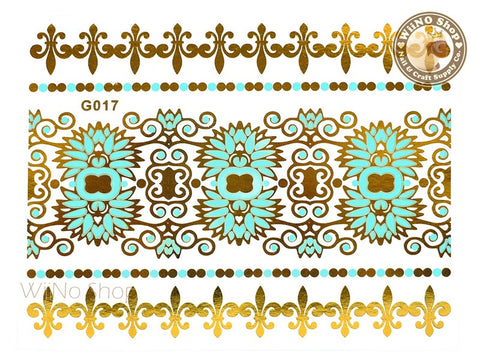 G017 Gold Turquoise Metallic Temporary Jewelry Tattoos - 1 pc