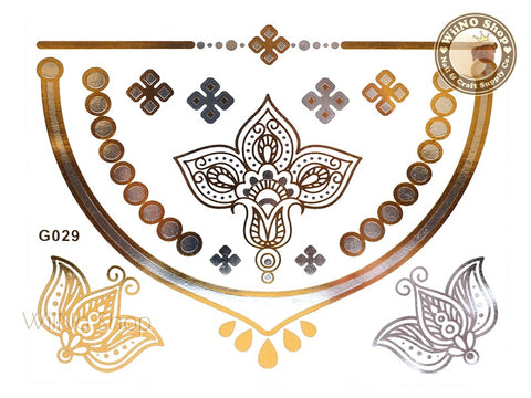 G029 Gold Silver Metallic Temporary Jewelry Tattoos - 1 pc