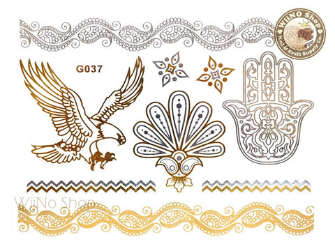 G037 Gold Silver Metallic Temporary Jewelry Tattoos - 1 pc