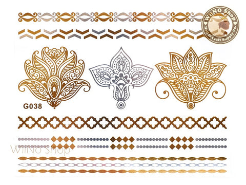 G038 Gold Silver Metallic Temporary Jewelry Tattoos - 1 pc