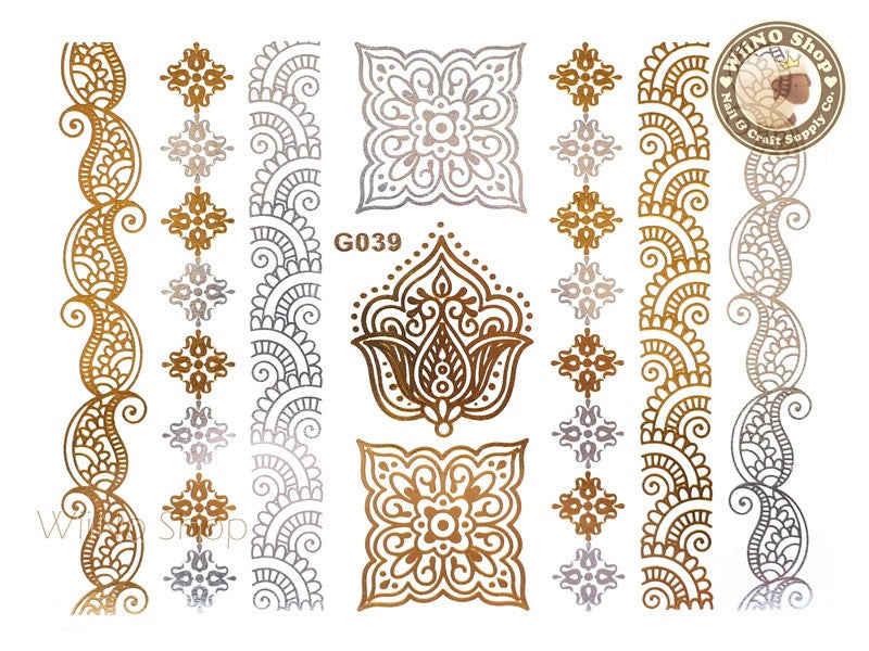 G039 Gold Silver Metallic Temporary Jewelry Tattoos - 1 pc