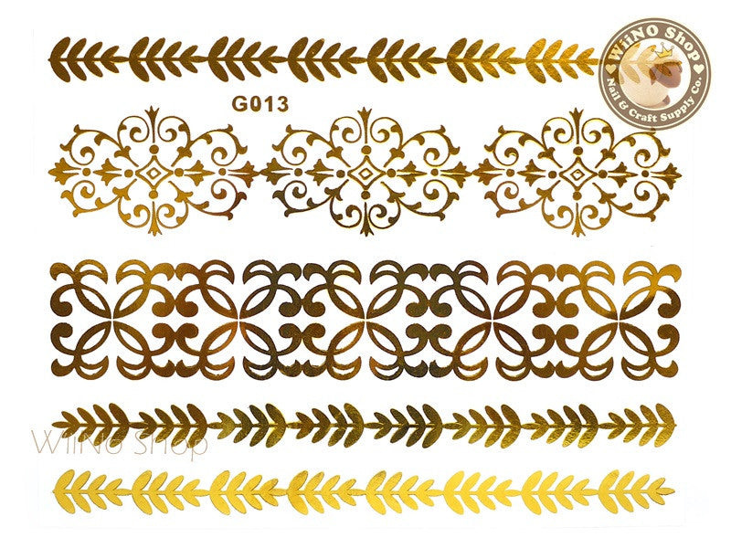 G013 Gold Metallic Temporary Jewelry Tattoos - 1 pc