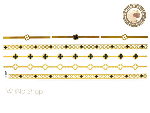 I002 Gold Black Metallic Temporary Jewelry Tattoos - 1 pc