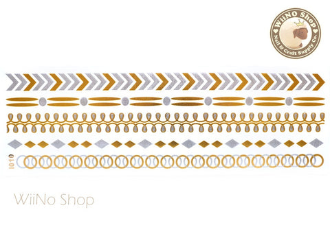 I010 Gold Silver Metallic Temporary Jewelry Tattoos - 1 pc