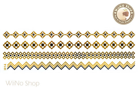 I014 Gold Black Metallic Temporary Jewelry Tattoos - 1 pc