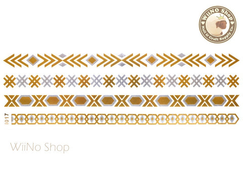 I017 Gold Silver Metallic Temporary Jewelry Tattoos - 1 pc