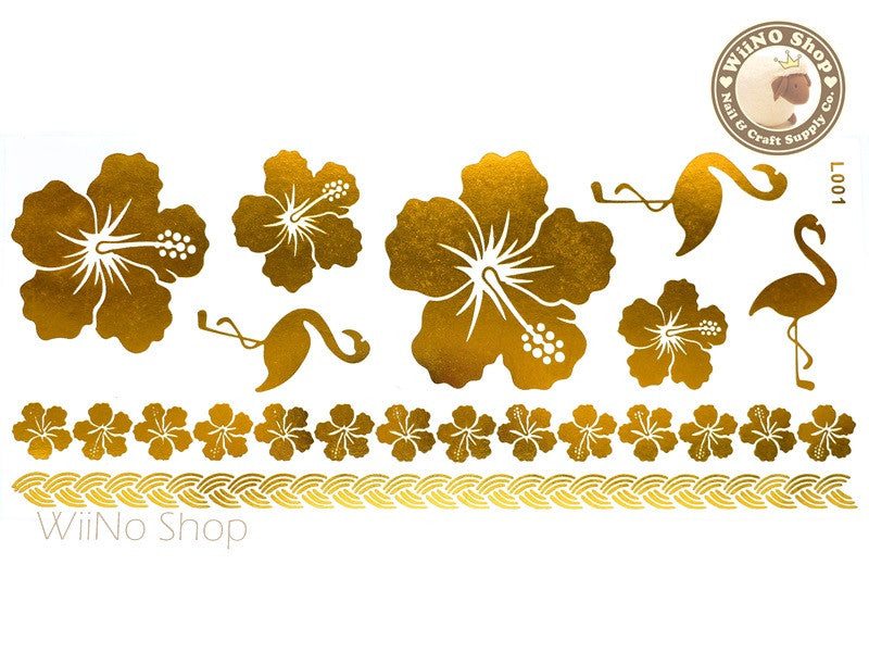 L001 Gold Metallic Temporary Jewelry Tattoos - 1 pc