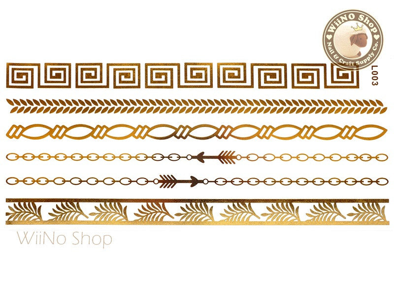 L003 Gold Metallic Temporary Jewelry Tattoos - 1 pc
