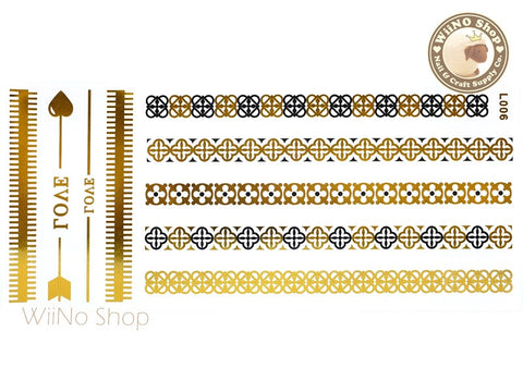 L006 Gold Black Metallic Temporary Jewelry Tattoos - 1 pc