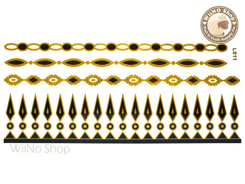 L011 Gold Black Metallic Temporary Jewelry Tattoos - 1 pc