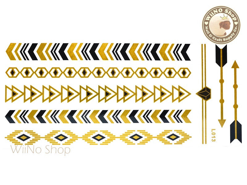 L013 Gold Black Metallic Temporary Jewelry Tattoos - 1 pc