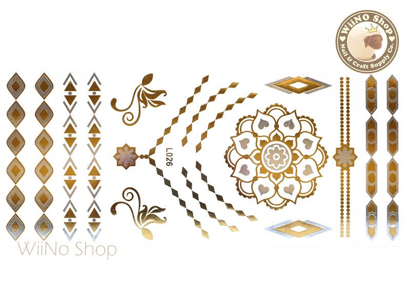 L026 Gold Silver Metallic Temporary Jewelry Tattoos - 1 pc