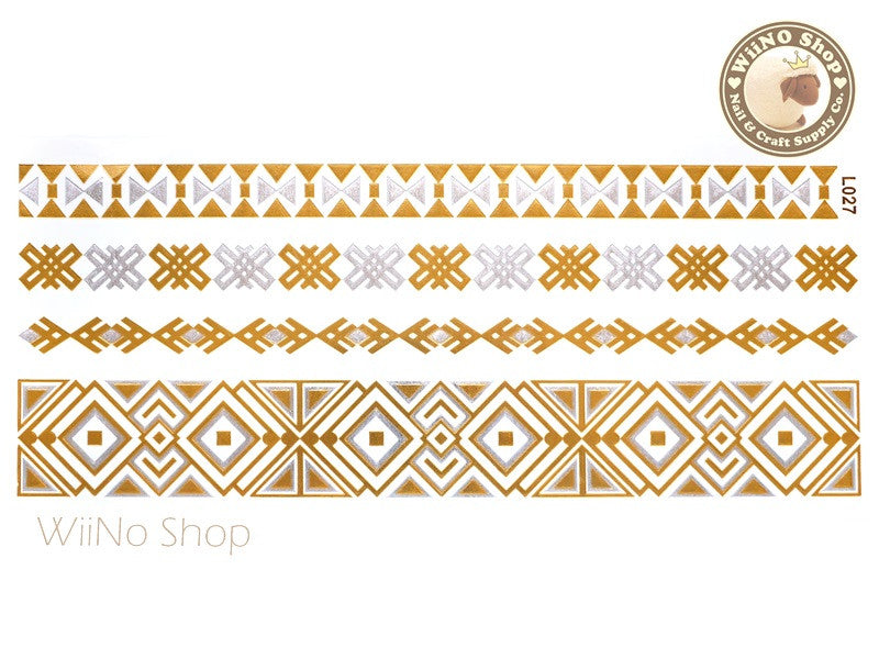 L027 Gold Silver Metallic Temporary Jewelry Tattoos - 1 pc