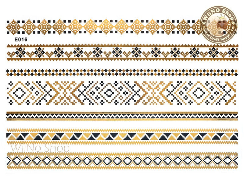 E016 Gold Black Metallic Temporary Jewelry Tattoos - 1 pc