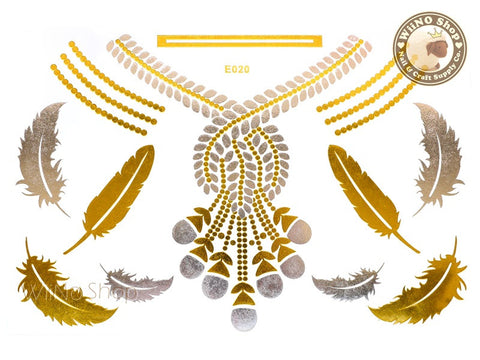 E020 Gold Silver Metallic Temporary Jewelry Tattoos - 1 pc
