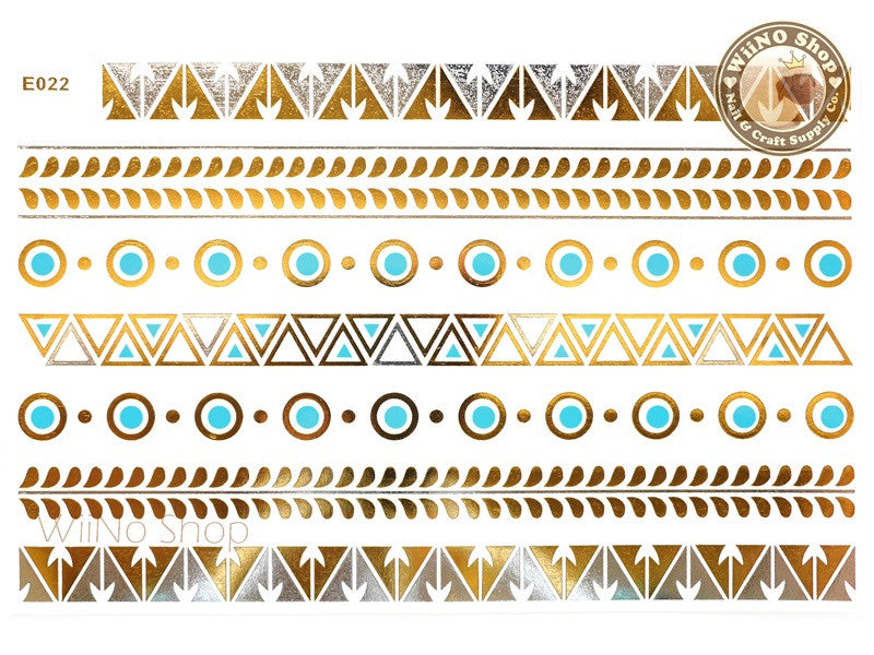 E022 Gold Silver Blue Metallic Temporary Jewelry Tattoos - 1 pc