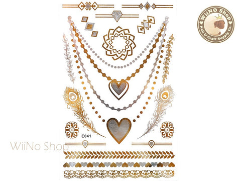 E041 Gold Silver Metallic Temporary Jewelry Tattoos - 1 pc