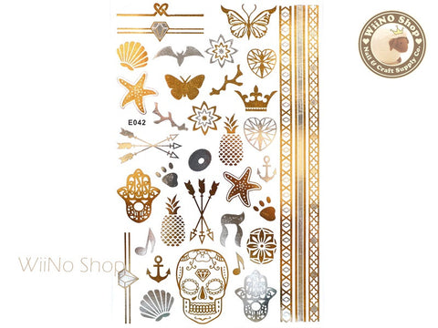 E042 Gold Silver Metallic Temporary Jewelry Tattoos - 1 pc