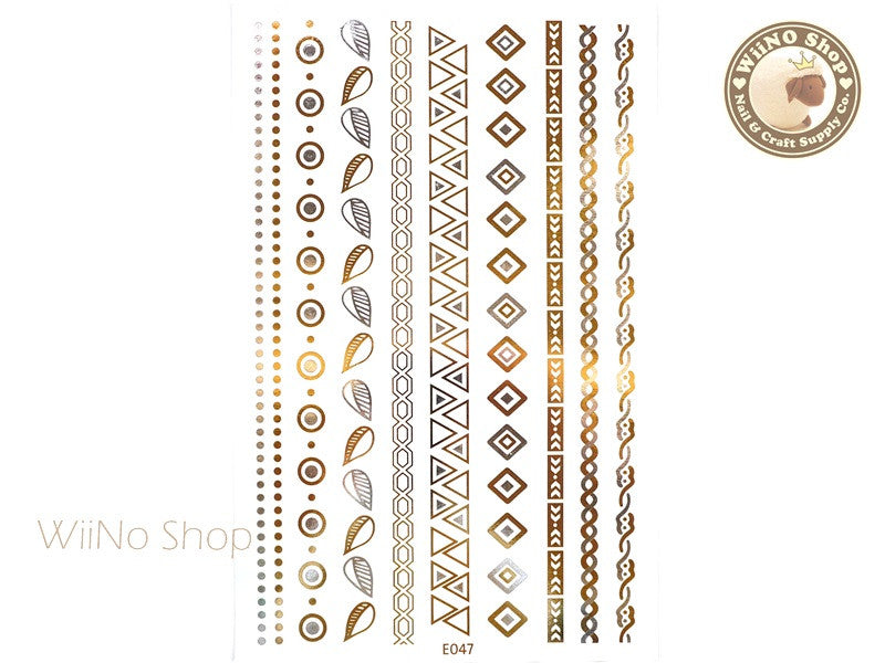 E047 Gold Silver Metallic Temporary Jewelry Tattoos - 1 pc