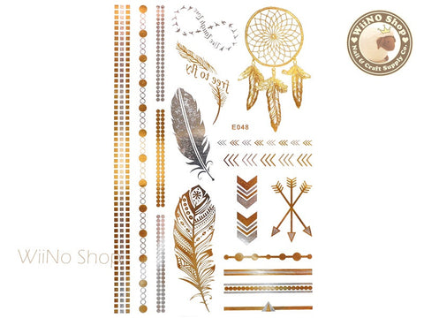 E048 Gold Silver Metallic Temporary Jewelry Tattoos - 1 pc