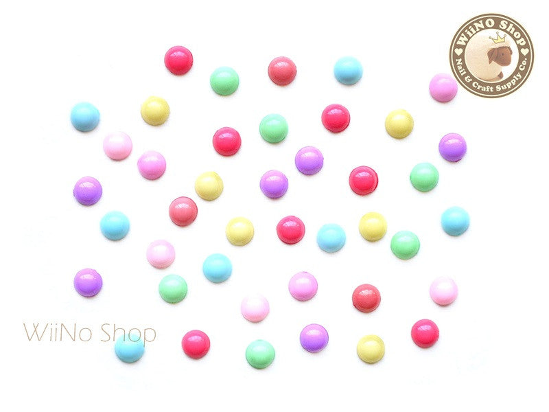 4mm Mixed Color Candy Half Round Flat Back Acrylic Cabochon Nail Art- 15 pcs