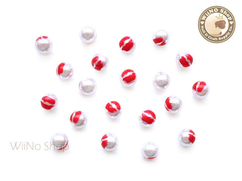 6mm Red Lip Pearl Beads Nail Art Decoration (No Hole) - 5 pcs