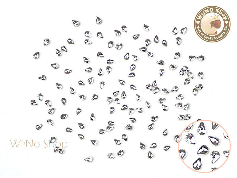 1 x 2mm Silver Mini Drop Metal Studs - 25 pcs