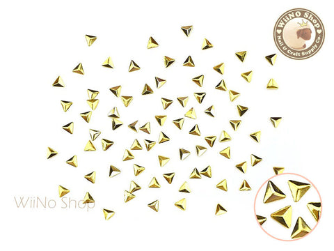 3mm Gold Triangle Pyramid Metal Studs - 25 pcs