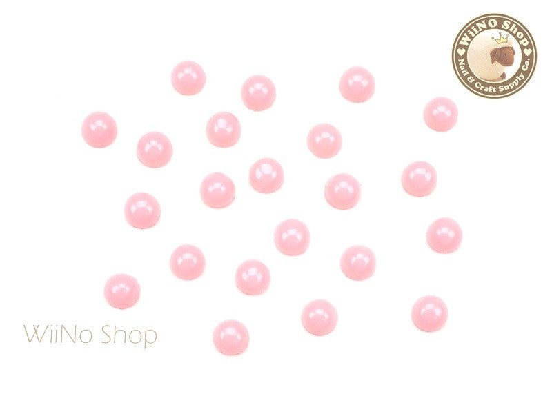 4mm Peach Candy Half Round Flat Back Acrylic Cabochon Nail Art- 15 pcs
