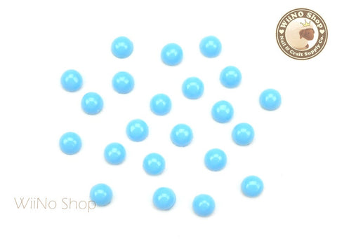 4mm Blue Candy Half Round Flat Back Acrylic Cabochon Nail Art- 15 pcs