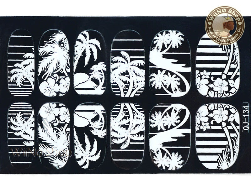 White Palm Tree Nail Wraps Nail Sticker - 1 pc (QJ-134)