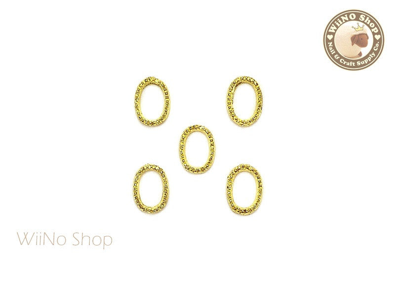 6 x 8mm Gold Oval Frame Nail Art Decoration - 5 pcs