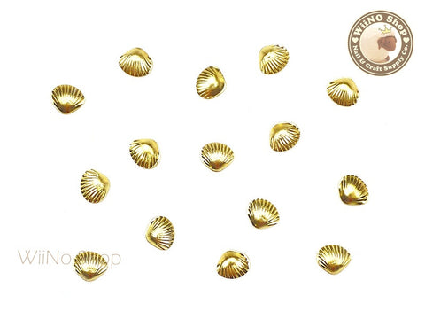 5mm Gold Clam Seashell Metal Studs - 10 pcs
