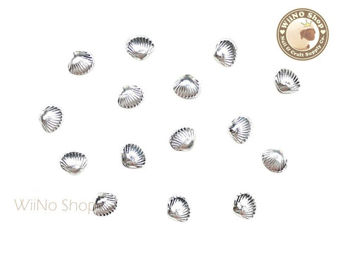 5mm Silver Clam Seashell Metal Studs - 10 pcs