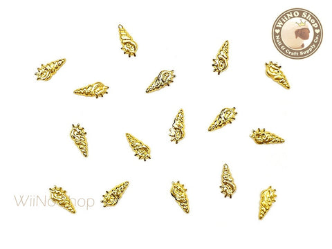 Gold Small Cerith Seashell Metal Studs - 10 pcs