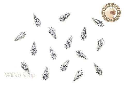 Silver Small Cerith Seashell Metal Studs - 10 pcs