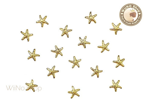5mm Gold Starfish Metal Studs - 10 pcs