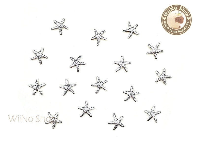 5mm Silver Starfish Metal Studs - 10 pcs
