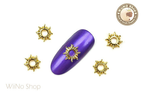Gold Sun Nail Metal Charm Nail Art - 2 pcs